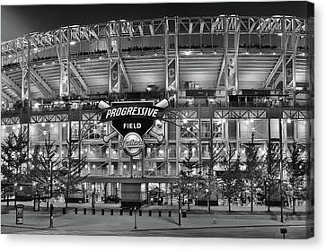 Cleveland Indians Stadium Canvas Print - Stadium Black And White by Frozen in Time Fine Art Photography