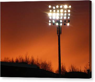 Canvas Print featuring the photograph Stadium Lights by RKAB Works