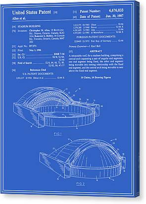 Stadium Patent - Blueprint Canvas Print by Finlay McNevin