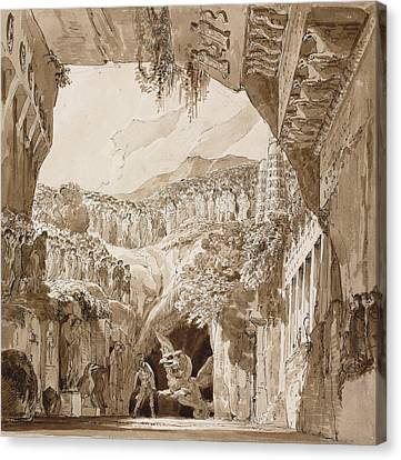 Stage Design With A Man Fighting A Dragon In A Cave  Canvas Print by Lorenzo Quaglio