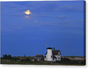 Stage Harbor Lighthouse Cape Cod Moon And Clouds Canvas Print by John Burk