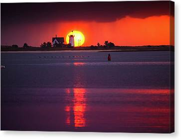 Stage Harbor Lighthouse In Chatham At Sunset Canvas Print by Dapixara Art