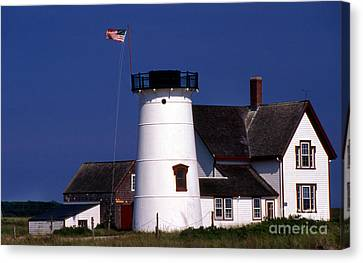 Stage Harbor Lighthouse Ma Canvas Print by Skip Willits