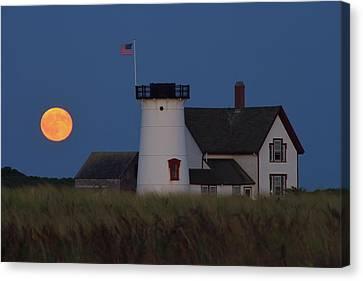 Stage Harbor Lighthouse Moonrise Canvas Print by John Burk