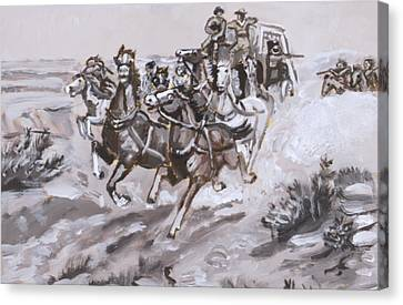 Stagecoach Attacked Historical Vignette Canvas Print by Dawn Senior-Trask