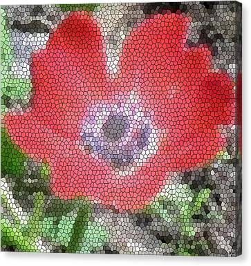 Canvas Print featuring the photograph Stain Glass Anemone by Debra     Vatalaro