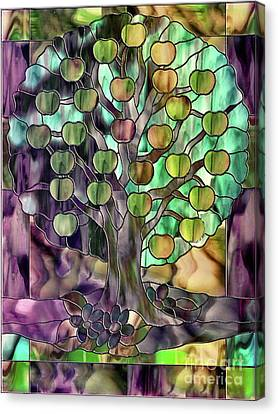 Glass Wall Canvas Print - Stained Glass Apple Tree by Mindy Sommers