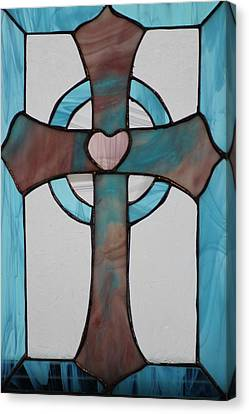 Stained Glass Cross Canvas Print by Ralph Hecht