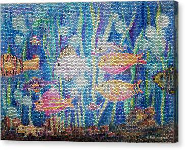 Mosaic Canvas Print - Stained Glass Fish by Arline Wagner