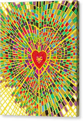 Stained Glass Heart Canvas Print by Brenda Adams