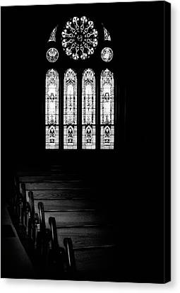 Stained Glass In Black And White Canvas Print by Tom Mc Nemar
