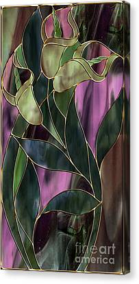 Stained Glass Khaki Callas Canvas Print by Mindy Sommers