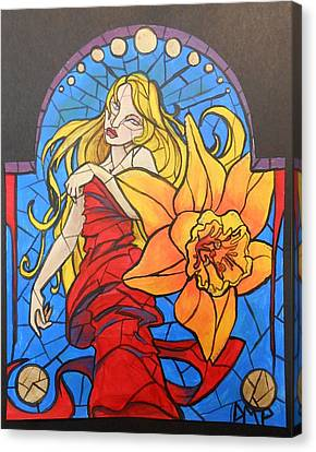 Stained Glass Lilly Canvas Print