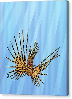 Tropical Colors Stain Glass Canvas Print - Stained Glass Lionfish by Stephen Kinsey