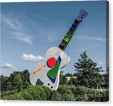 Stained Glass Neck Guitar Sculpture Canvas Print