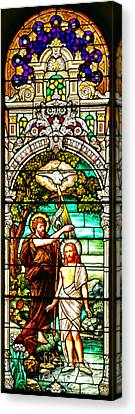 Canvas Print featuring the photograph Stained Glass Scene 2 Crop 2 by Adam Jewell