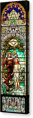Canvas Print featuring the photograph Stained Glass Scene 2 Crop by Adam Jewell