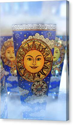 Stained Glass Sun Face Canvas Print