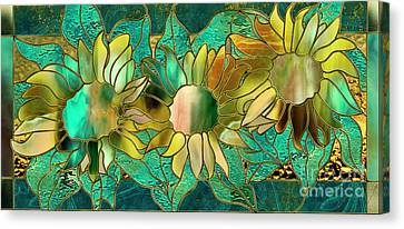 Stained Glass Sunflowers Canvas Print