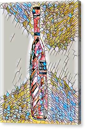 Stained Glass Tall Red Wine Bottle Canvas Print
