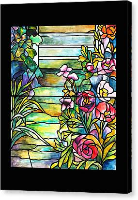 Stained Glass Tiffany Robert Mellon House Canvas Print by Donna Walsh