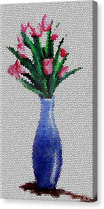 Tropical Colors Stain Glass Canvas Print - Stained Glass Vase by Farah Faizal