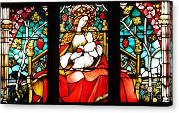 Stained Glass Virgin And Child 2 Canvas Print by Sarah Loft