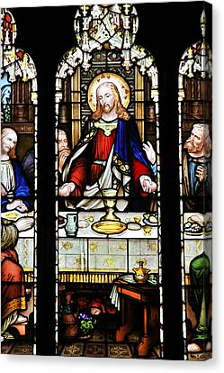 Stained Glass Window Last Supper Saint Giles Cathedral Edinburgh Scotland Canvas Print by Christine Till