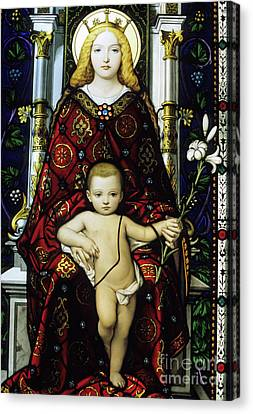 Stained Glass Window Of The Madonna And Child Canvas Print by Sami Sarkis