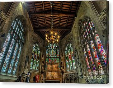 Crucifix Art Canvas Print - Stained Glass Windows by Ian Mitchell