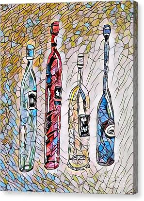 Stained Glass Wine Bottles Canvas Print