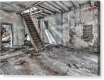 Canvas Print featuring the photograph Stair In Old Abandoned  Building by Michal Boubin