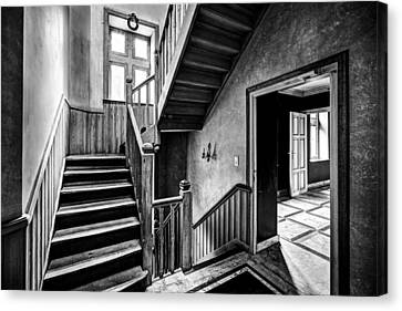 Staircase In Abandoned Castle - Urban Exploration Canvas Print