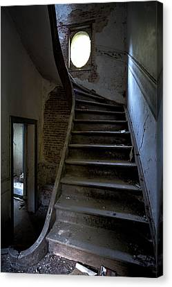 Staircase In Decay- Urban Exploration Canvas Print by Dirk Ercken