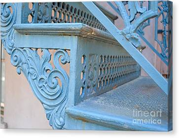 Antique Ironwork Canvas Print - Stairs Of Yesteryear by Linda Covino