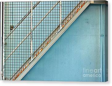 Canvas Print featuring the photograph Stairs On Blue Wall by Stephen Mitchell