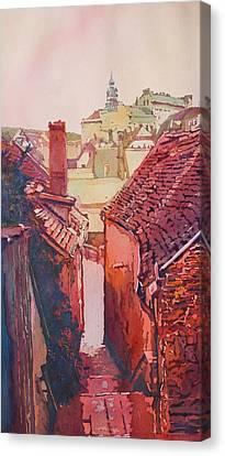 Stairs To Cesky Krumlov Canvas Print by Jenny Armitage