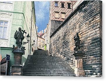 Prague Digital Art Canvas Print - Stairs To Prague Castle by Amy Sorvillo