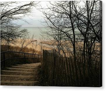 Canvas Print featuring the photograph Stairs To The Beach In Winter by Michelle Calkins