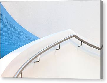 Stair Canvas Print - Stairs With Blue by Jeroen Van De Wiel