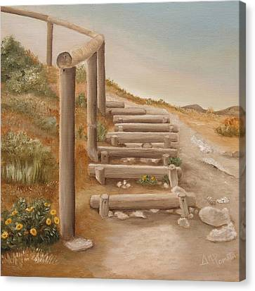 Stairway From The Beach Canvas Print by Angeles M Pomata
