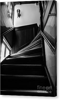 Canvas Print featuring the photograph Stairway In Amsterdam Bw by RicardMN Photography