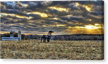 Stairways To Heaven Winter Sunrise The Iron Horse Canvas Print by Reid Callaway