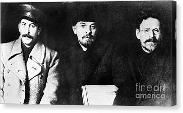 Communist Russia Canvas Print - Stalin, Lenin & Trotsky by Granger