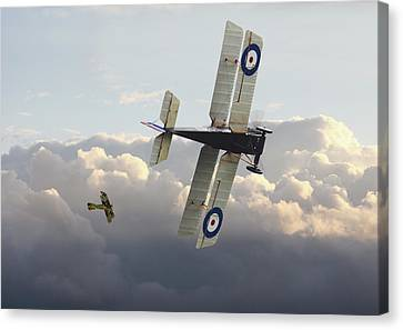 Canvas Print featuring the digital art Stalked - Se5 And Albatros Dlll by Pat Speirs