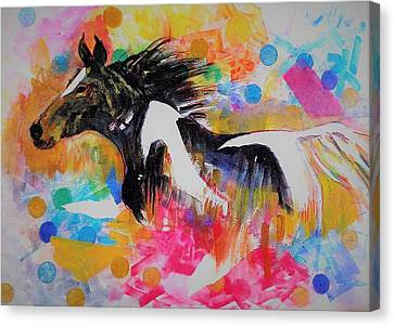 Stallion In Abstract Canvas Print by Khalid Saeed