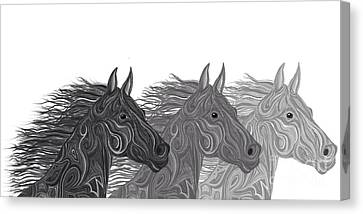 Canvas Print featuring the drawing Stallions Shades by Nick Gustafson