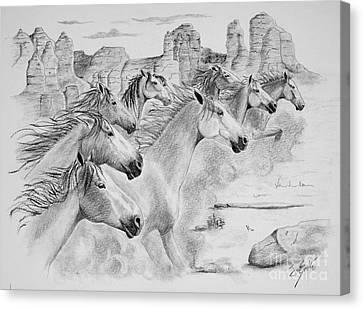 Running Horses Canvas Print - Stampede In Sedona by Joette Snyder