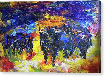 Canvas Print featuring the painting Stampede by Koro Arandia