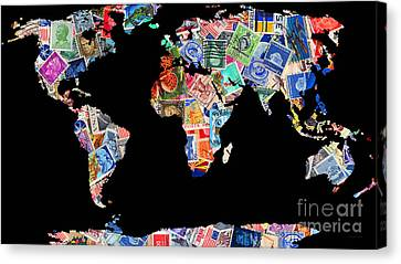 Stamps Of The World Map . V1 Canvas Print by Wingsdomain Art and Photography